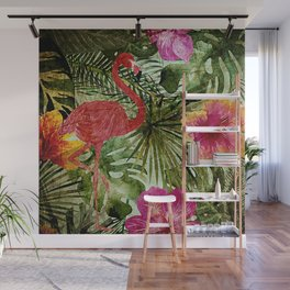 Tropical Vintage Exotic Jungle- Floral and Flamingo watercolor pattern Wall Mural