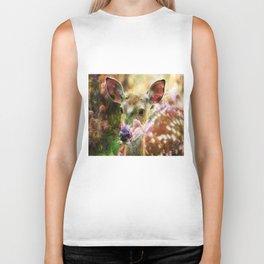 Fawn Peeking Through The Lilac Bushes By Annie Zeno Biker Tank