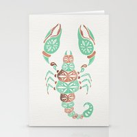rose gold Stationery Cards featuring Scorpion – Mint & Rose Gold by Cat Coquillette
