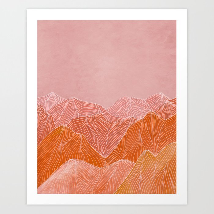 Lines in the mountains - pink II Kunstdrucke