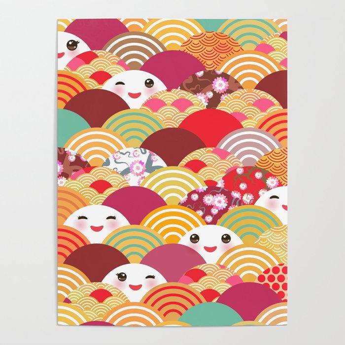 kawaii nature background with japanese sakura flower wave pattern