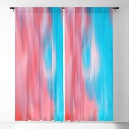 Abstract modern artsy coral teal aqua brushstrokes Blackout Curtain