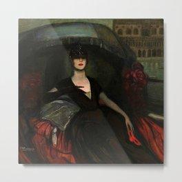 The Masquerade, Carnival, Venice, Italy portrait by Federico Beltran Masses Metal Print