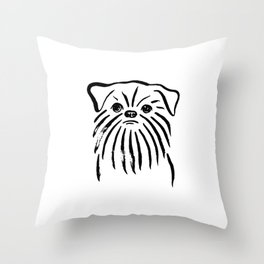 Brussels Griffon (Black and White) Throw Pillow