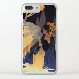 Blue gold drop Clear iPhone Case