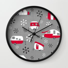 Red Campers on Charcoal Wall Clock
