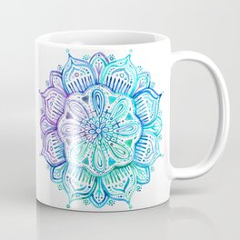 Iridescent Aqua and Purple Watercolor Mandala Coffee Mug