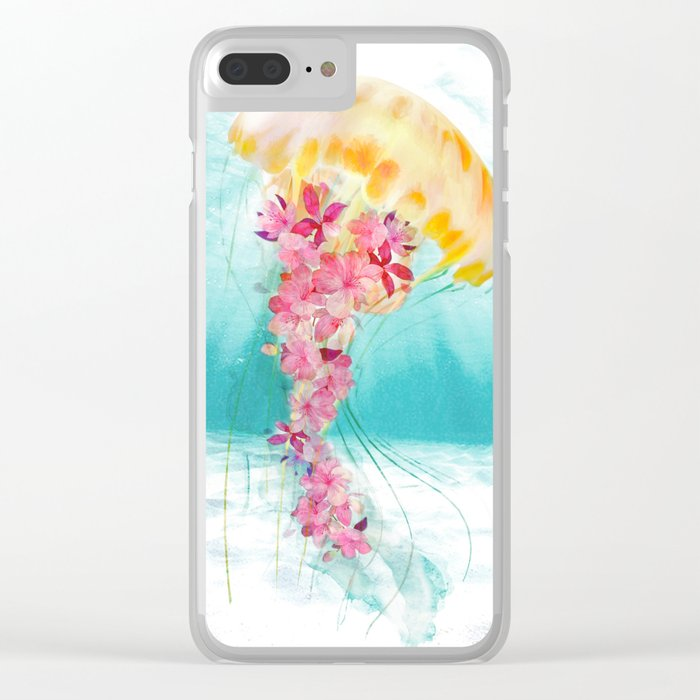 Jellyfish with Flowers Clear iPhone Case