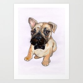Frenchie With Bowtie Art Print