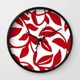 LEAF PALM VINE SWIRL IN RED AND WHITE PATTERN Wall Clock
