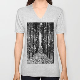 Magical Forest Black White Gray Unisex V-Neck