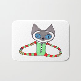 Cute Siamese Cat in his Red and Green Striped Christmas Pajamas Bath Mat
