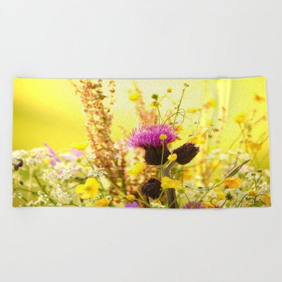 Colorful Wildflowers Beach Towel