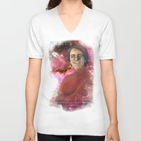 sagan V-neck T-shirts featuring Carl Sagan  by Madison Gremillion