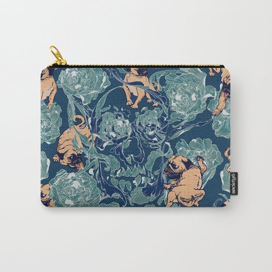 Climbing Pug & Floral Carry-All Pouch