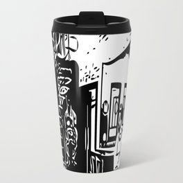 Black and white portrait Travel Mug