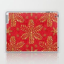 DP044-2 Gold snowflakes on red Laptop & iPad Skin