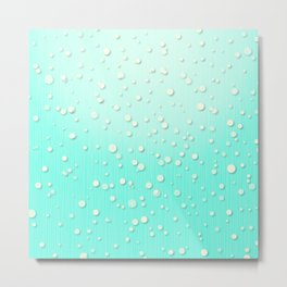 Winter Snow Mint Blue Ombre Background Metal Print