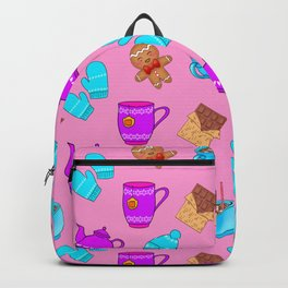 Sweet gingerbread men cookies, chocolate bars, hot cocoa with marshmallows, tea pots winter pattern Backpack