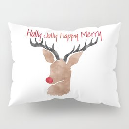 Christmas Watercolor Red Nosed Reindeer Silhouette Pillow Sham