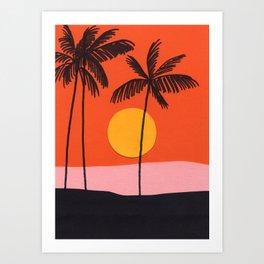 Beach with Orange Sky Art Print