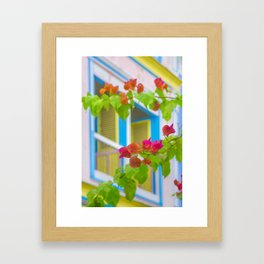 Colored Flowers in Front of Windows House Framed Art Print