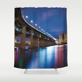 Awesome Big Bridge And City Skyline Nightlife Reflection Ultra HD Shower Curtain