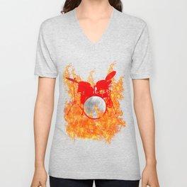 Flaming Red Drum Set Unisex V-Neck