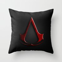 assassins creed Throw Pillows featuring CREED ASSASSINS LOGO by Bilqis
