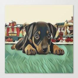 Doberman Puppy Protecting the 027 Railroad Canvas Print