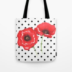 Poppies and polka dots Tote Bag