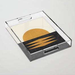 Sunset Geometric Midcentury style Acrylic Tray