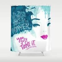 barbie Shower Curtains featuring Woman Power Barbie by Gigglebox