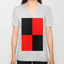 Big mosaic red black Unisex V-Neck