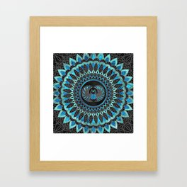 Egyptian Scarab Beetle - Gold and Blue glass Framed Art Print