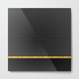 Chic Black Gray Greek Key Gold Border Metal Print