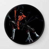 nightcrawler Wall Clocks featuring Nightcrawler by bernardtime