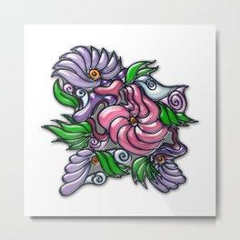 Floral fantasy colorful original doodle drawing Metal Print