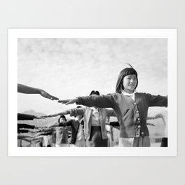 Ansel Adams - Calisthenics - Japansese American Internment Camp Art Print