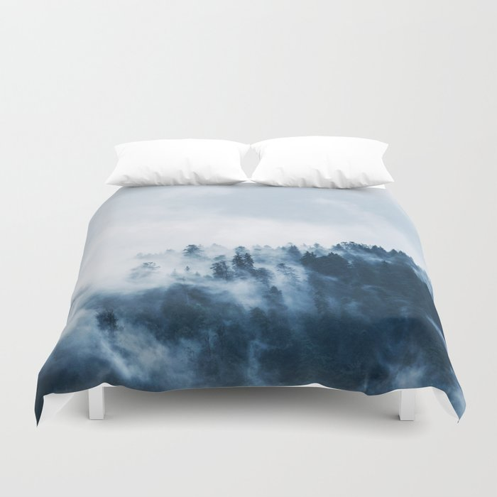 CLOUDS - WHITE - FOG - TREES - FOREST - LANDSCAPE - NATURE - TIMBER - WOODS - PHOTOGRAPHY Duvet Cover