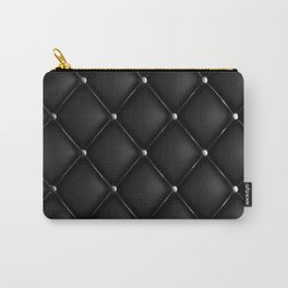 Black Quilted Leather Carry-All Pouch