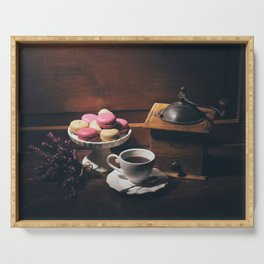 Vintage still life with coffee items Serving Tray