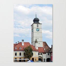 sibiu city romania council Tower landmark architecture Canvas Print