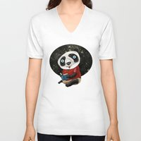 red panda V-neck T-shirts featuring Panda by gunberk