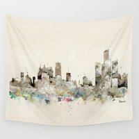 michigan Wall Tapestries featuring Detroit Michigan skyline by bri.buckley