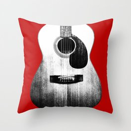 Guitar - Body, Red Background Throw Pillow