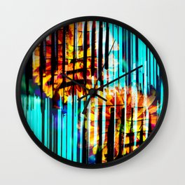 Floral Keys [orange+blue] Wall Clock