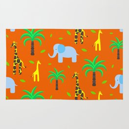 Jiraffe and elephant african pattern Rug
