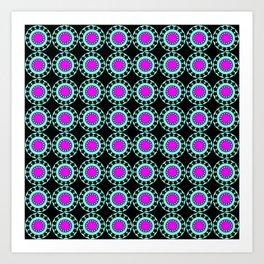 Retro Colorful Circles Pattern Art Print