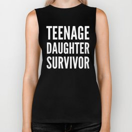 Teenage Daughter Survivor (Black & White) Biker Tank